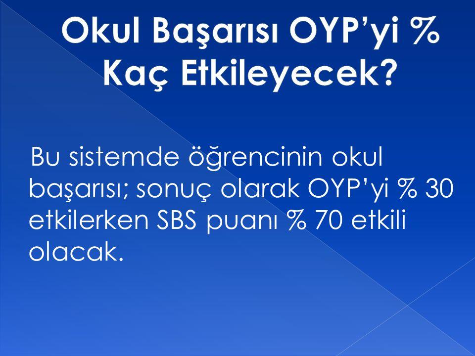 Bu sistemde öğrencinin okul başarısı; sonuç olarak OYP'yi % 30 etkilerken SBS puanı % 70 etkili olacak.