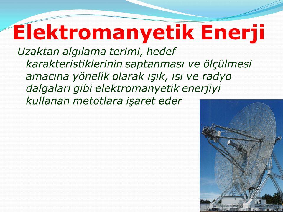 Elektromanyetik Enerji Uzaktan algılama terimi, hedef karakteristiklerinin saptanması ve ölçülmesi amacına yönelik olarak ışık, ısı ve radyo dalgaları
