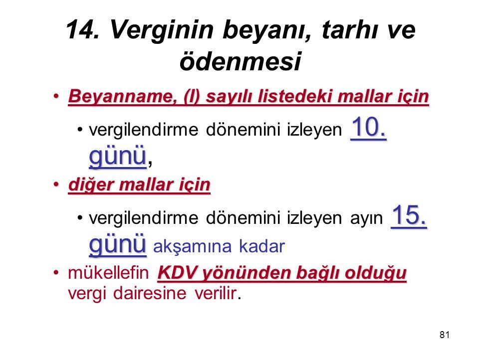 81 14. Verginin beyanı, tarhı ve ödenmesi Beyanname, (I) sayılı listedeki mallar içinBeyanname, (I) sayılı listedeki mallar için 10. günüvergilendirme