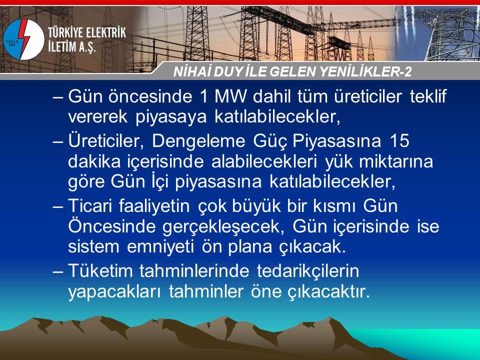 30-31 Ekim 2009 OSB İstanbul Toplantısı Sunumu –Gün öncesinde 1 MW dahil tüm üreticiler teklif vererek piyasaya katılabilecekler, –Üreticiler, Dengele