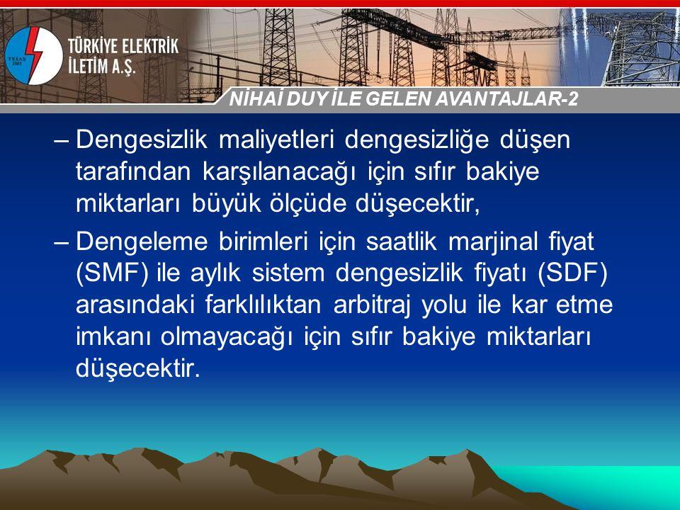 30-31 Ekim 2009 OSB İstanbul Toplantısı Sunumu –Dengesizlik maliyetleri dengesizliğe düşen tarafından karşılanacağı için sıfır bakiye miktarları büyük
