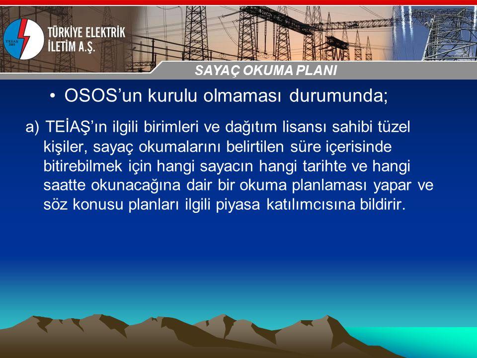30-31 Ekim 2009 OSB İstanbul Toplantısı Sunumu OSOS'un kurulu olmaması durumunda; a) TEİAŞ'ın ilgili birimleri ve dağıtım lisansı sahibi tüzel kişiler