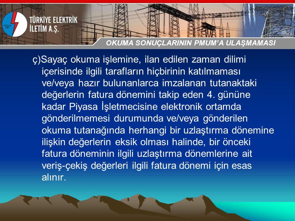 30-31 Ekim 2009 OSB İstanbul Toplantısı Sunumu ç)Sayaç okuma işlemine, ilan edilen zaman dilimi içerisinde ilgili tarafların hiçbirinin katılmaması ve