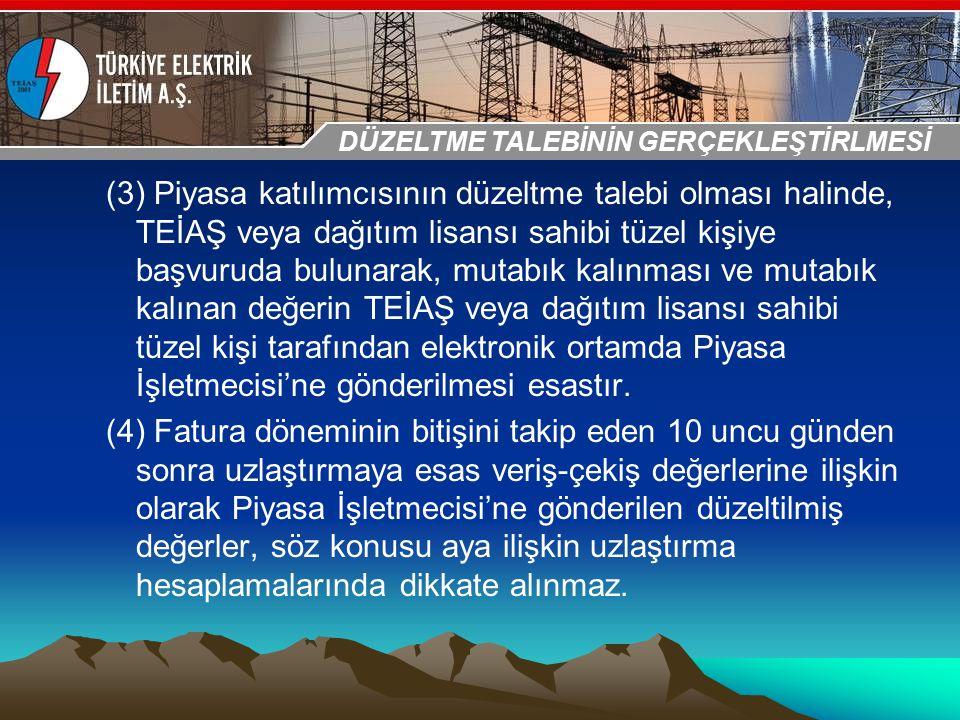 30-31 Ekim 2009 OSB İstanbul Toplantısı Sunumu (3) Piyasa katılımcısının düzeltme talebi olması halinde, TEİAŞ veya dağıtım lisansı sahibi tüzel kişiy