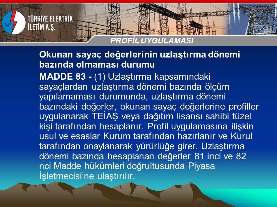 30-31 Ekim 2009 OSB İstanbul Toplantısı Sunumu Okunan sayaç değerlerinin uzlaştırma dönemi bazında olmaması durumu MADDE 83 - (1) Uzlaştırma kapsamınd