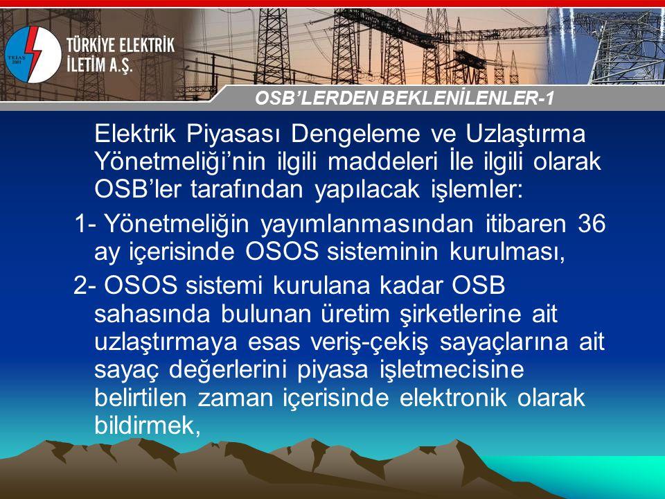 30-31 Ekim 2009 OSB İstanbul Toplantısı Sunumu Elektrik Piyasası Dengeleme ve Uzlaştırma Yönetmeliği'nin ilgili maddeleri İle ilgili olarak OSB'ler ta