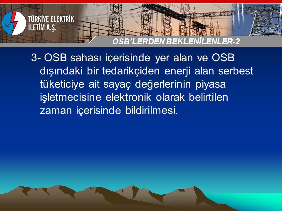 30-31 Ekim 2009 OSB İstanbul Toplantısı Sunumu 3- OSB sahası içerisinde yer alan ve OSB dışındaki bir tedarikçiden enerji alan serbest tüketiciye ait