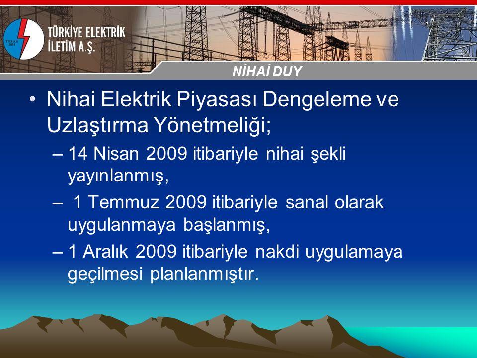 30-31 Ekim 2009 OSB İstanbul Toplantısı Sunumu Nihai Elektrik Piyasası Dengeleme ve Uzlaştırma Yönetmeliği; –14 Nisan 2009 itibariyle nihai şekli yayı