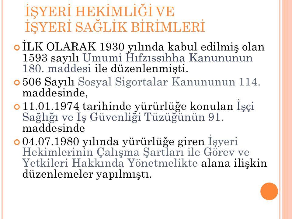 İŞYERİ HEKİMLİĞİ VE İŞYERİ SAĞLİK BİRİMLERİ İLK OLARAK 1930 yılında kabul edilmiş olan 1593 sayılı Umumi Hıfzıssıhha Kanununun 180. maddesi ile düzenl