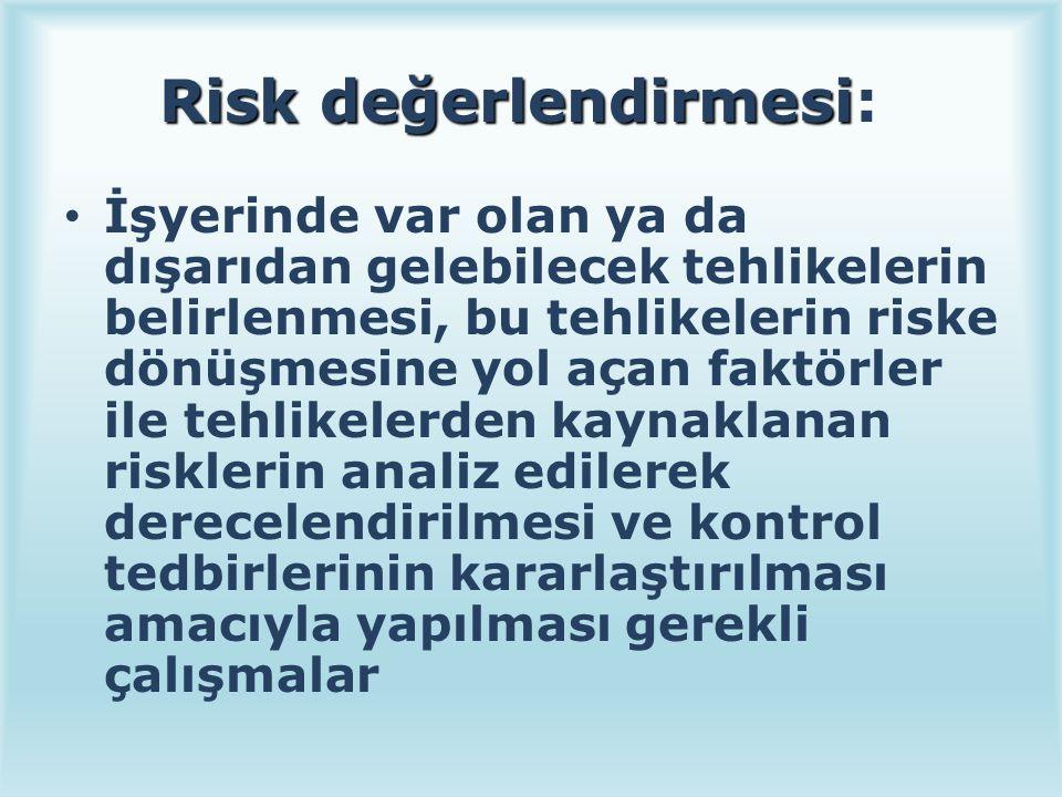 Risk değerlendirmesi Risk değerlendirmesi: İşyerinde var olan ya da dışarıdan gelebilecek tehlikelerin belirlenmesi, bu tehlikelerin riske dönüşmesine