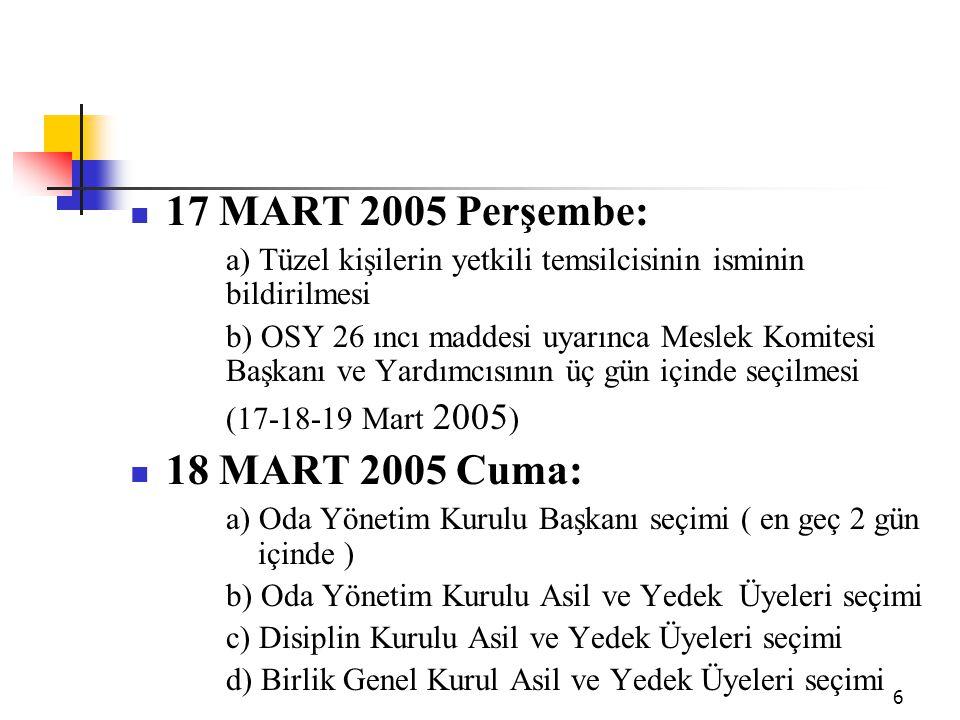 6 17 MART 2005 Perşembe: a) Tüzel kişilerin yetkili temsilcisinin isminin bildirilmesi b) OSY 26 ıncı maddesi uyarınca Meslek Komitesi Başkanı ve Yard