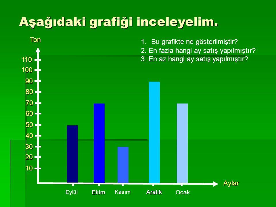 Aşağıdaki grafiği inceleyelim. Ton10 20 30 40 50 60 70 80 90 100110 Eylül Ekim Kasım Aralık Ocak Aylar 1.Bu grafikte ne gösterilmiştir? 2. En fazla ha