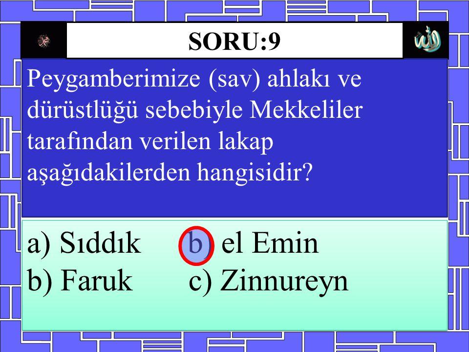 Peygamberimize (sav) ahlakı ve dürüstlüğü sebebiyle Mekkeliler tarafından verilen lakap aşağıdakilerden hangisidir? a) Sıddık b) el Emin b) Faruk c) Z