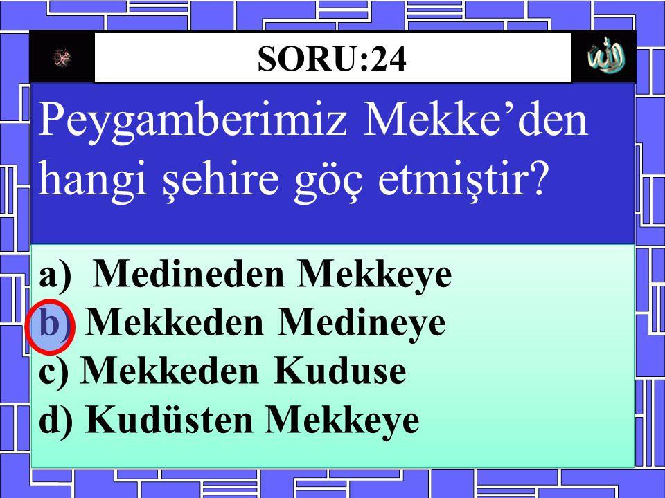 Peygamberimiz Mekke'den hangi şehire göç etmiştir? a)Medineden Mekkeye b) Mekkeden Medineye c) Mekkeden Kuduse d) Kudüsten Mekkeye a)Medineden Mekkeye