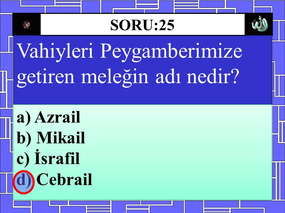 Vahiyleri Peygamberimize getiren meleğin adı nedir? a) Azrail b) Mikail c) İsrafil d) Cebrail a) Azrail b) Mikail c) İsrafil d) Cebrail SORU:25