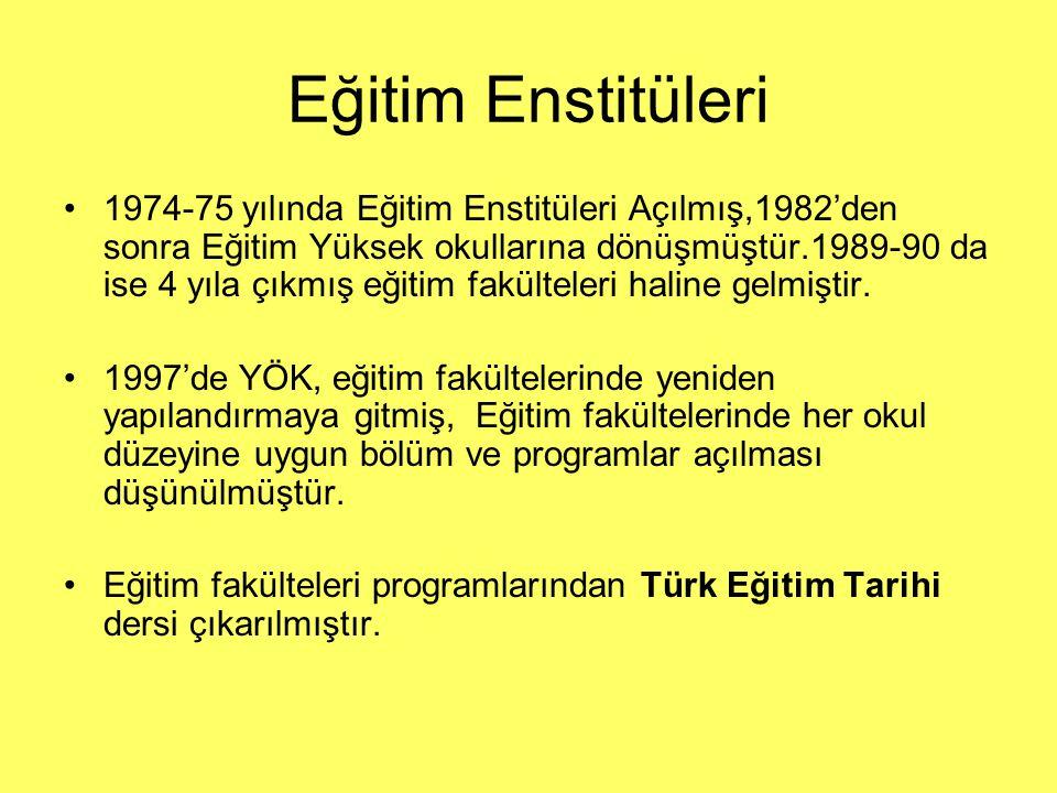 Eğitim Enstitüleri 1974-75 yılında Eğitim Enstitüleri Açılmış,1982'den sonra Eğitim Yüksek okullarına dönüşmüştür.1989-90 da ise 4 yıla çıkmış eğitim
