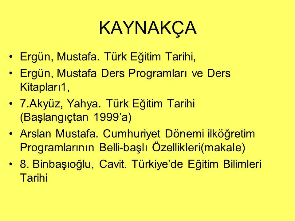 KAYNAKÇA Ergün, Mustafa. Türk Eğitim Tarihi, Ergün, Mustafa Ders Programları ve Ders Kitapları1, 7.Akyüz, Yahya. Türk Eğitim Tarihi (Başlangıçtan 1999