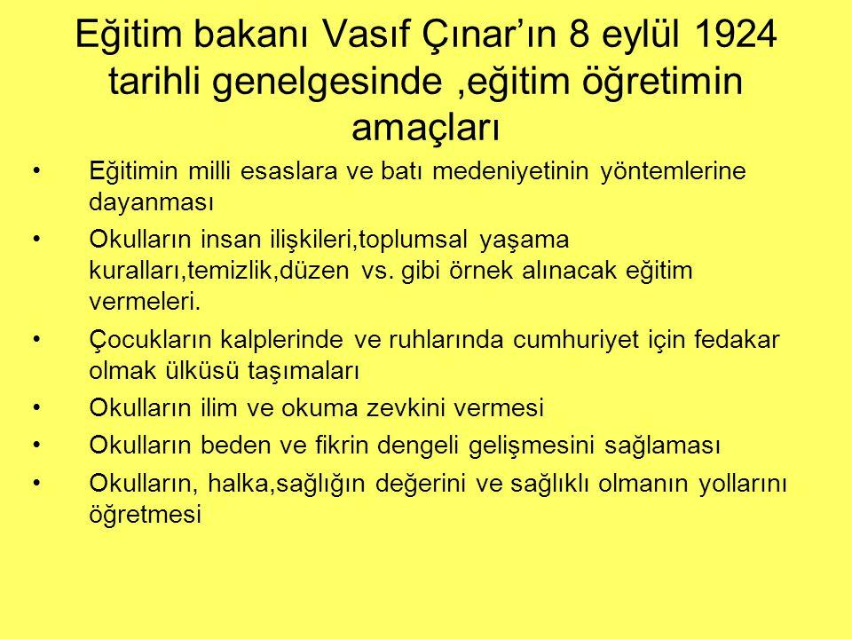 Eğitim bakanı Vasıf Çınar'ın 8 eylül 1924 tarihli genelgesinde,eğitim öğretimin amaçları Eğitimin milli esaslara ve batı medeniyetinin yöntemlerine da