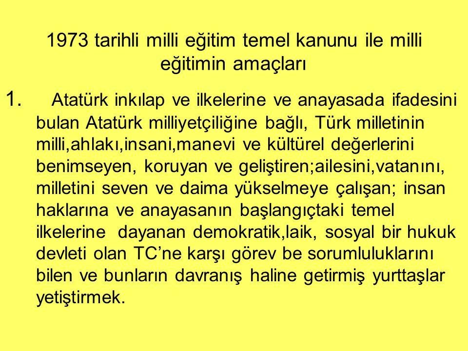 1973 tarihli milli eğitim temel kanunu ile milli eğitimin amaçları 1. Atatürk inkılap ve ilkelerine ve anayasada ifadesini bulan Atatürk milliyetçiliğ