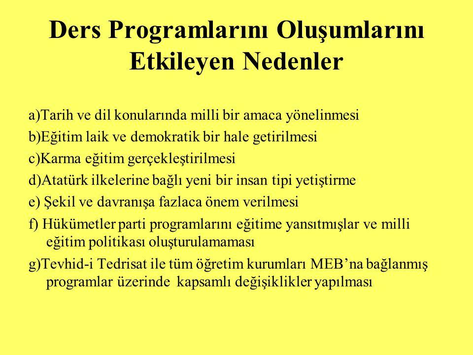 Köy Enstitüleri Programları: 1943 programına göre süreleri 5 yıldır.
