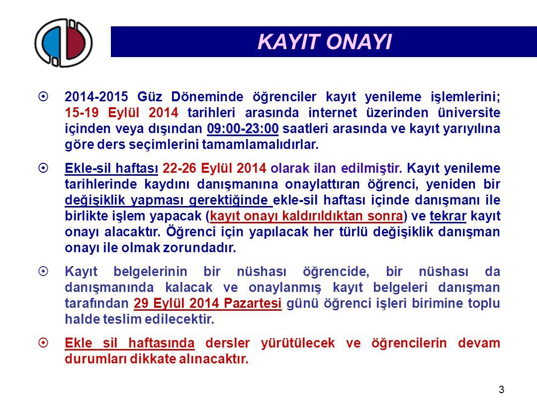 09:00-23:00  2014-2015 Güz Döneminde öğrenciler kayıt yenileme işlemlerini; 15-19 Eylül 2014 tarihleri arasında internet üzerinden üniversite içinden veya dışından 09:00-23:00 saatleri arasında ve kayıt yarıyılına göre ders seçimlerini tamamlamalıdırlar.