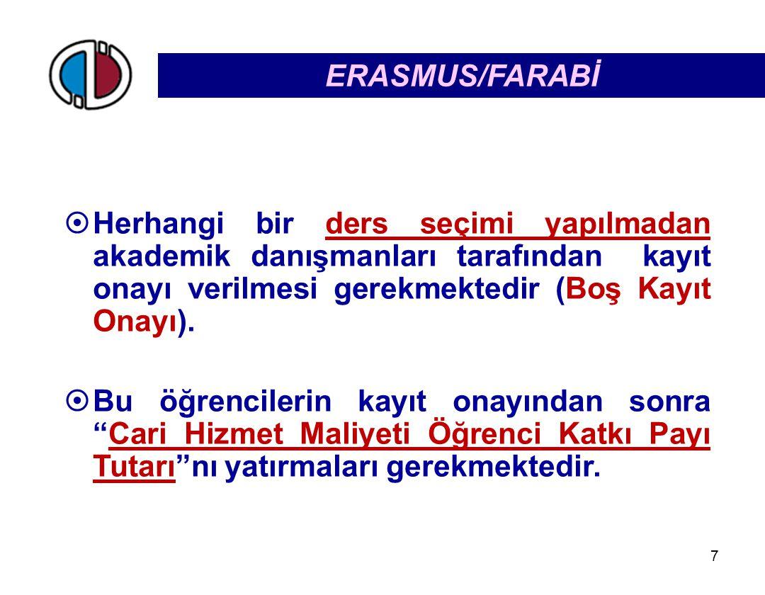 7 ERASMUS/FARABİ  Herhangi bir ders seçimi yapılmadan akademik danışmanları tarafından kayıt onayı verilmesi gerekmektedir (Boş Kayıt Onayı).