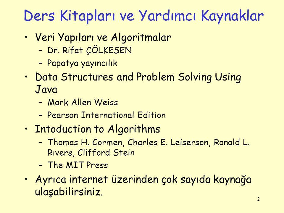 Ders Kitapları ve Yardımcı Kaynaklar Veri Yapıları ve Algoritmalar –Dr. Rifat ÇÖLKESEN –Papatya yayıncılık Data Structures and Problem Solving Using J