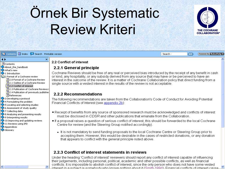 Örnek Bir Systematic Review Kriteri