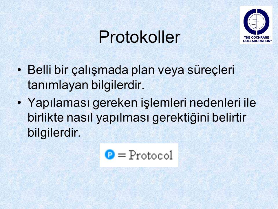 Protokoller Belli bir çalışmada plan veya süreçleri tanımlayan bilgilerdir. Yapılaması gereken işlemleri nedenleri ile birlikte nasıl yapılması gerekt