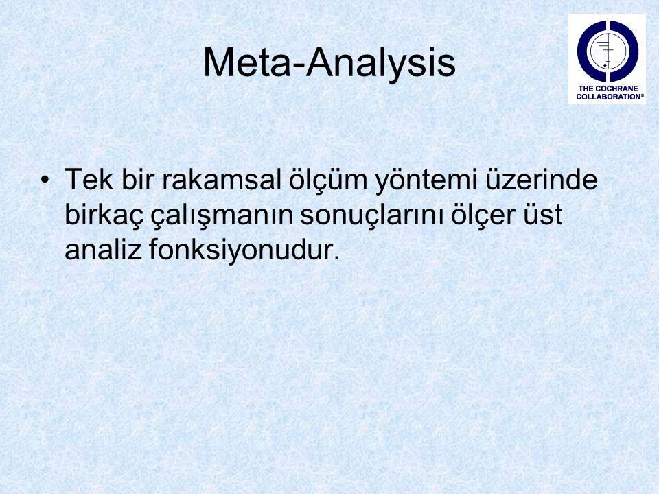 Meta-Analysis Tek bir rakamsal ölçüm yöntemi üzerinde birkaç çalışmanın sonuçlarını ölçer üst analiz fonksiyonudur.