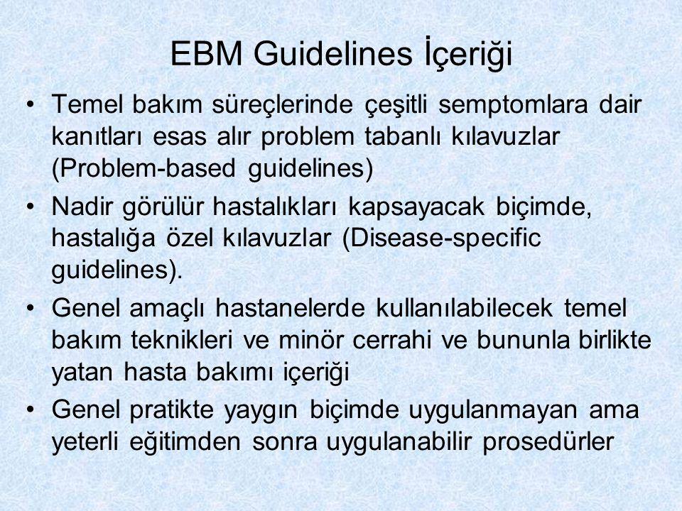 EBM Guidelines İçeriği Temel bakım süreçlerinde çeşitli semptomlara dair kanıtları esas alır problem tabanlı kılavuzlar (Problem-based guidelines) Nad
