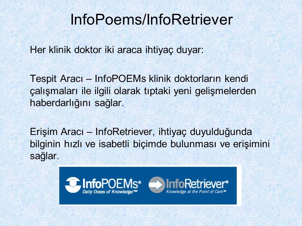 InfoPoems/InfoRetriever Her klinik doktor iki araca ihtiyaç duyar: Tespit Aracı – InfoPOEMs klinik doktorların kendi çalışmaları ile ilgili olarak tıp