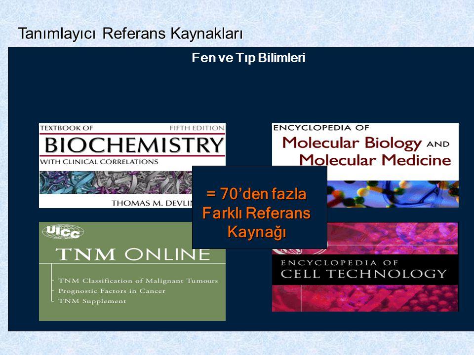 Psikoloji Tanımlayıcı Referans Kaynakları İş, Finans ve Yönetim KimyaMühendislik Yer ve Çevre Bilimleri FizikGenel Bilim Fen ve Tıp Bilimleri = 70'den