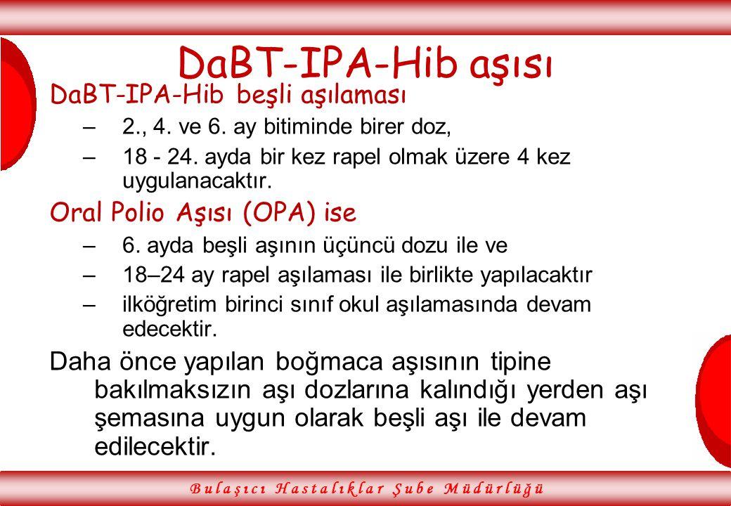 DaBT-IPA-Hib aşısı DaBT-IPA-Hib beşli aşılaması –2., 4. ve 6. ay bitiminde birer doz, –18 - 24. ayda bir kez rapel olmak üzere 4 kez uygulanacaktır. O
