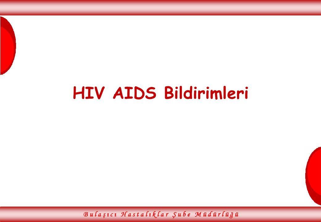 B u l a ş ı c ı H a s t a l ı k l a r Ş u b e M ü d ü r l ü ğ ü HIV AIDS Bildirimleri