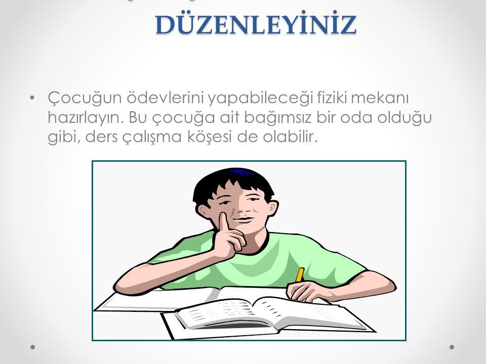 3. ÇALIŞMA ORTAMINI DÜZENLEYİNİZ Çocuğun ödevlerini yapabileceği fiziki mekanı hazırlayın. Bu çocuğa ait bağımsız bir oda olduğu gibi, ders çalışma kö