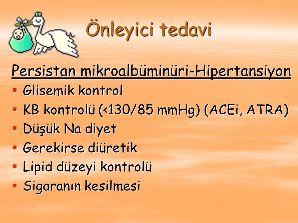 Önleyici tedavi Persistan mikroalbüminüri-Hipertansiyon  Glisemik kontrol  KB kontrolü (<130/85 mmHg) (ACEi, ATRA)  Düşük Na diyet  Gerekirse diür