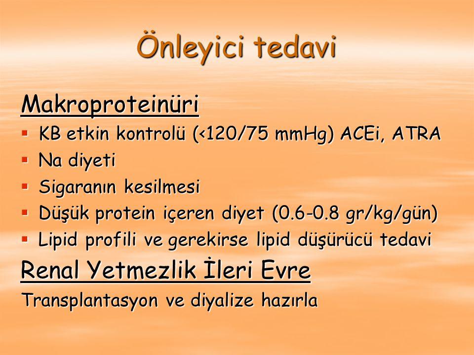 Önleyici tedavi Makroproteinüri  KB etkin kontrolü (<120/75 mmHg) ACEi, ATRA  Na diyeti  Sigaranın kesilmesi  Düşük protein içeren diyet (0.6-0.8