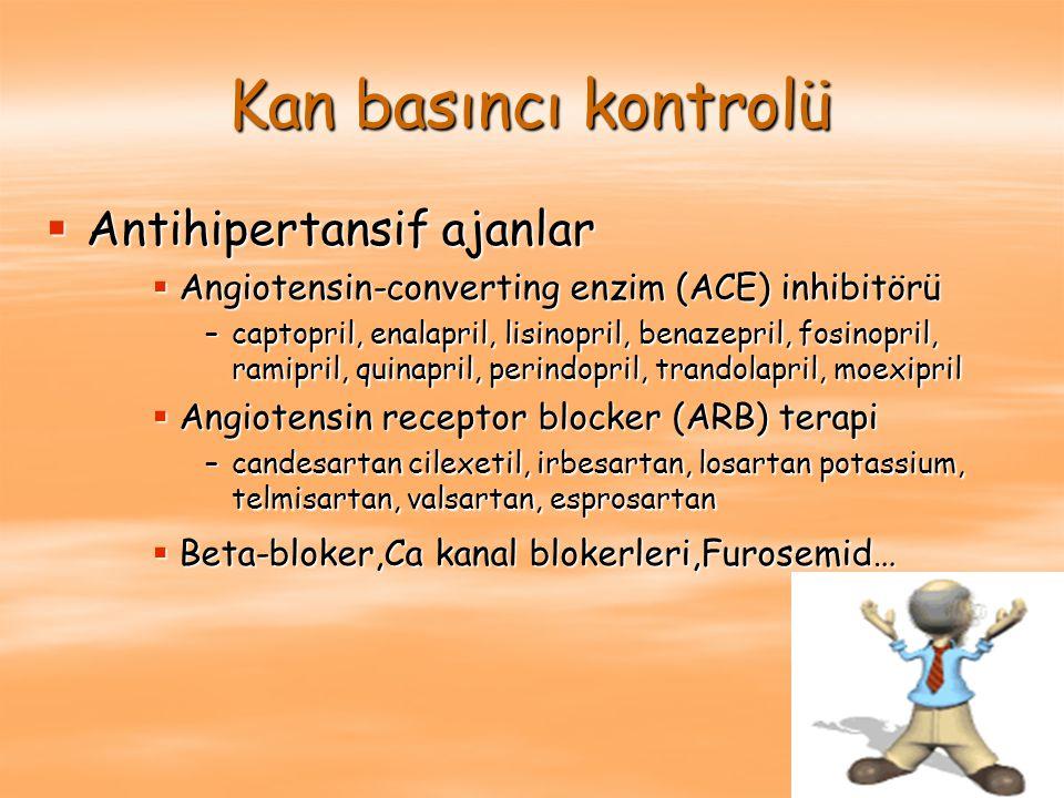ACE inhibitörleri Renin anjiotensin sisteminin blokasyonu ile; Renin anjiotensin sisteminin blokasyonu ile;  Daha düşük kan basıncı  Daha düşük intraglomerüler basınç  Proteinüride azalma (ortalama %45)  Anjiotensin II nin non hemodinamik etkilerini inhibe etmesi (proliferasyon, hipertrofi, matrix genişlemesi, sitokin salınımı).