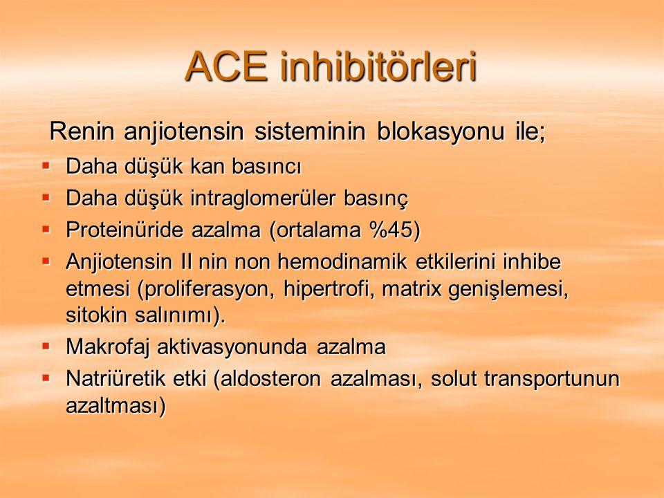 Önleyici tedavi Makroproteinüri  KB etkin kontrolü (<120/75 mmHg) ACEi, ATRA  Na diyeti  Sigaranın kesilmesi  Düşük protein içeren diyet (0.6-0.8 gr/kg/gün)  Lipid profili ve gerekirse lipid düşürücü tedavi Renal Yetmezlik İleri Evre Transplantasyon ve diyalize hazırla