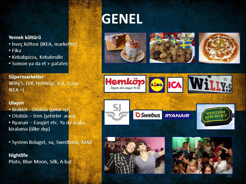 GENEL Yemek kültürü İsveç köftesi (IKEA, marketler) Fika Kebabpizza, Kebabrulle Somon ya da et + patates Süpermarketler Willy's, Lidl, Hemköp, ICA, Co