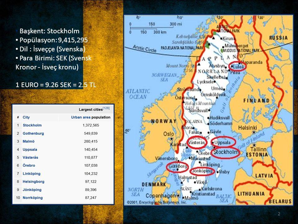 Başkent: Stockholm Popülasyon: 9,415,295 Dil : İsveççe (Svenska) Para Birimi: SEK (Svensk Kronor - İsveç kronu) 1 EURO = 9.26 SEK = 2.5 TL 2