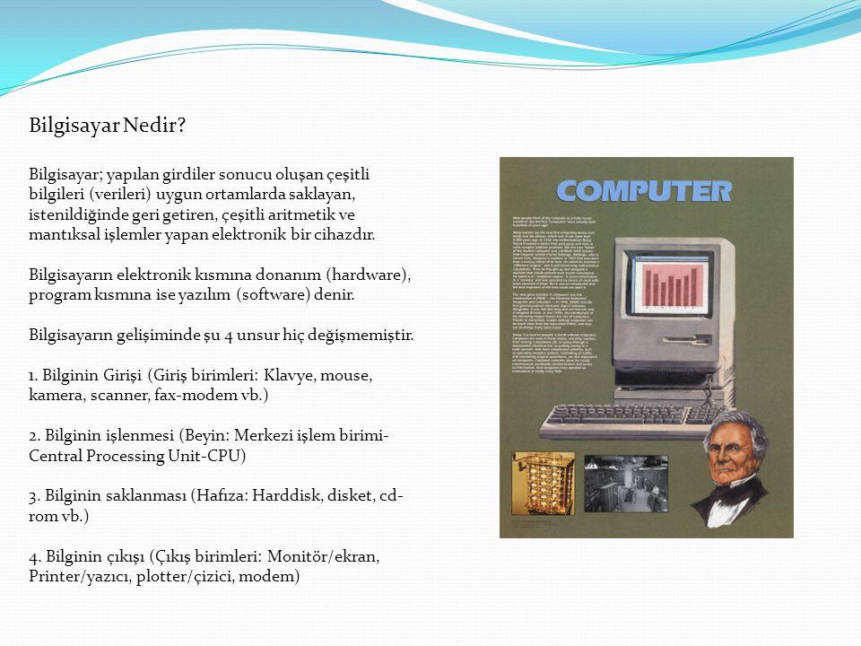 Bilgisayar Nedir? Bilgisayar; yapılan girdiler sonucu oluşan çeşitli bilgileri (verileri) uygun ortamlarda saklayan, istenildiğinde geri getiren, çeşi