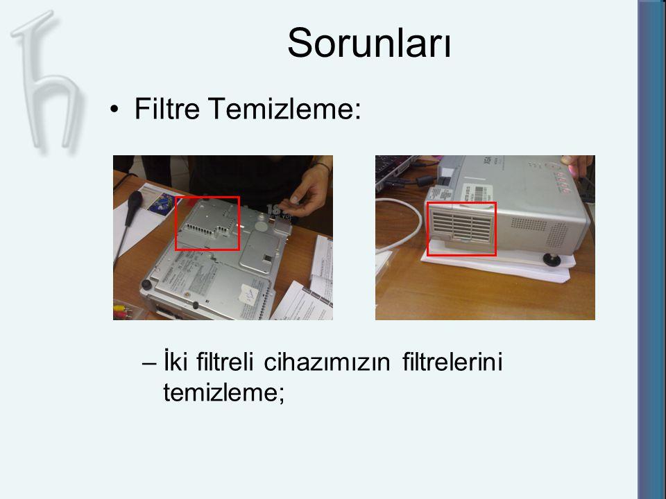 Sorunları Filtre Temizleme: –İki filtreli cihazımızın filtrelerini temizleme;