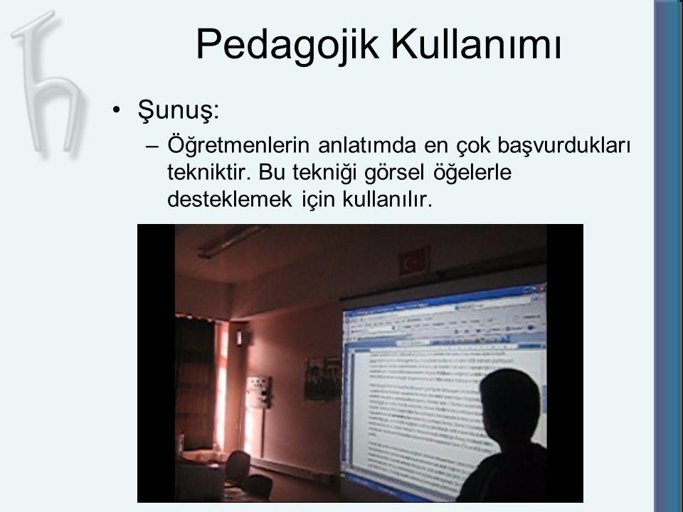 Pedagojik Kullanımı Şunuş: –Öğretmenlerin anlatımda en çok başvurdukları tekniktir. Bu tekniği görsel öğelerle desteklemek için kullanılır.