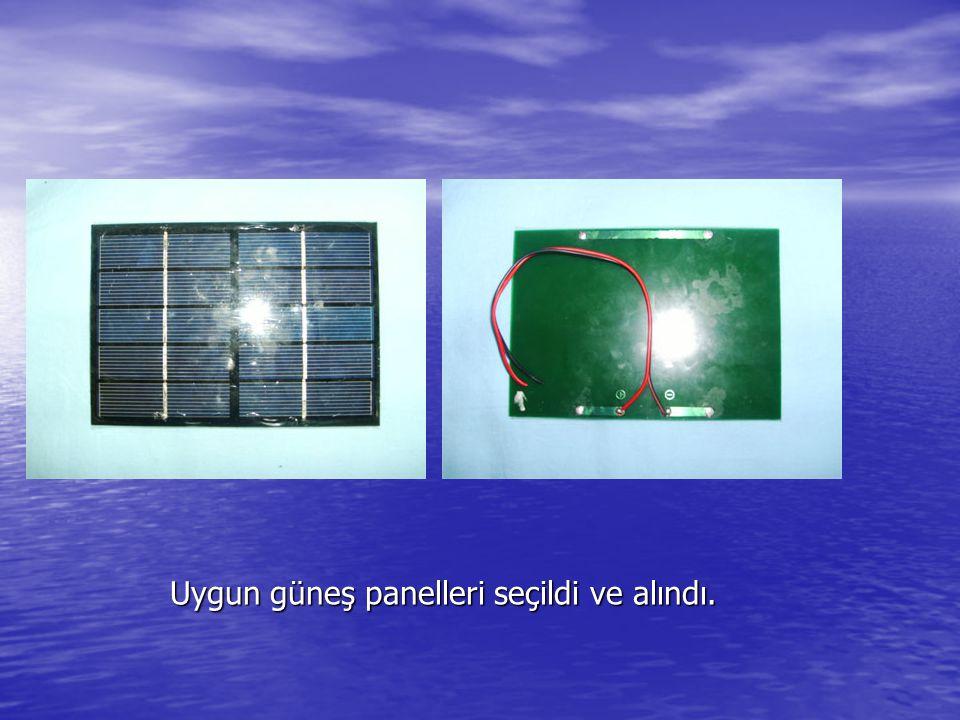 Uygun güneş panelleri seçildi ve alındı.