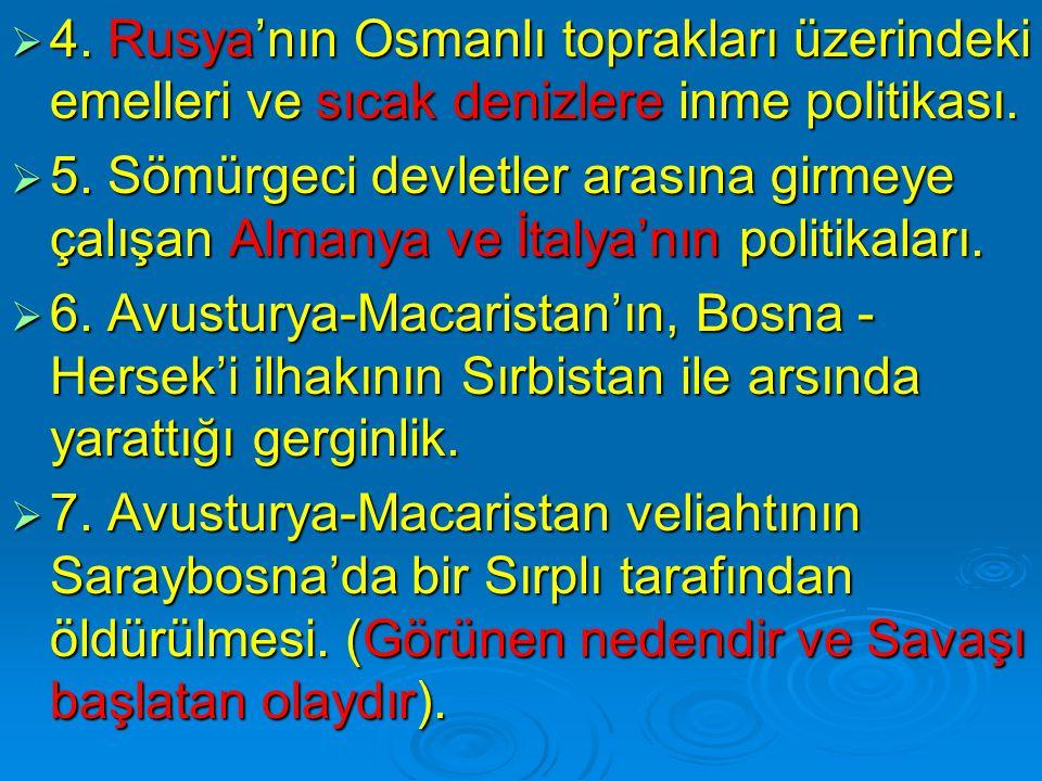  4. Rusya'nın Osmanlı toprakları üzerindeki emelleri ve sıcak denizlere inme politikası.  5. Sömürgeci devletler arasına girmeye çalışan Almanya ve