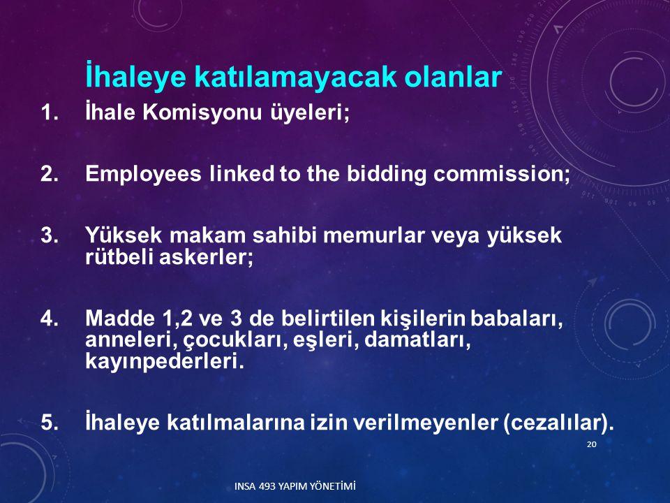 İhaleye katılamayacak olanlar 1.İhale Komisyonu üyeleri; 2.Employees linked to the bidding commission; 3.Yüksek makam sahibi memurlar veya yüksek rütbeli askerler; 4.Madde 1,2 ve 3 de belirtilen kişilerin babaları, anneleri, çocukları, eşleri, damatları, kayınpederleri.