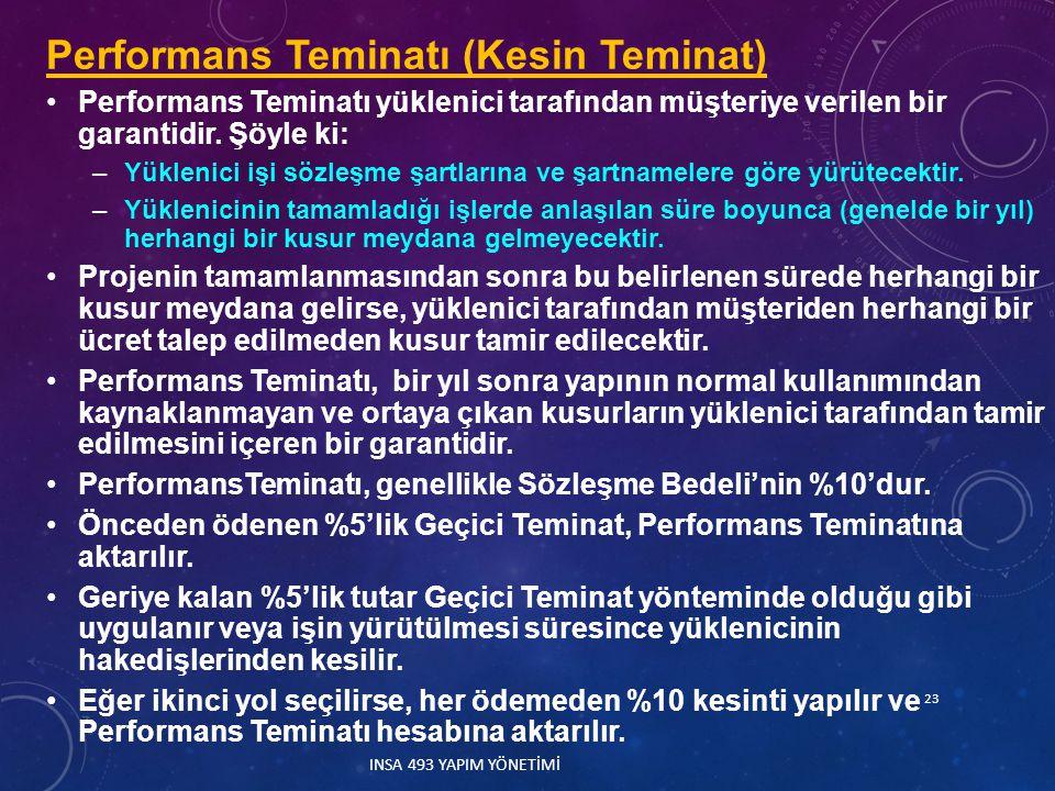 Performans Teminatı (Kesin Teminat) Performans Teminatı yüklenici tarafından müşteriye verilen bir garantidir. Şöyle ki: –Yüklenici işi sözleşme şartl
