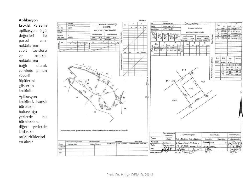 Aplikasyon krokisi: Parselin aplikasyon ölçü değerleri ile parsel sınır noktalarının sabit tesislere ve kontrol noktalarına bağlı olarak zeminde alına